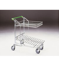 Merchandise Trolley with flatbed and 27 Litre basket