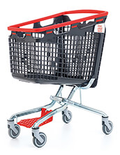 160 Litre LOOP 160 Plastic Shopping Trolley - Red Handle